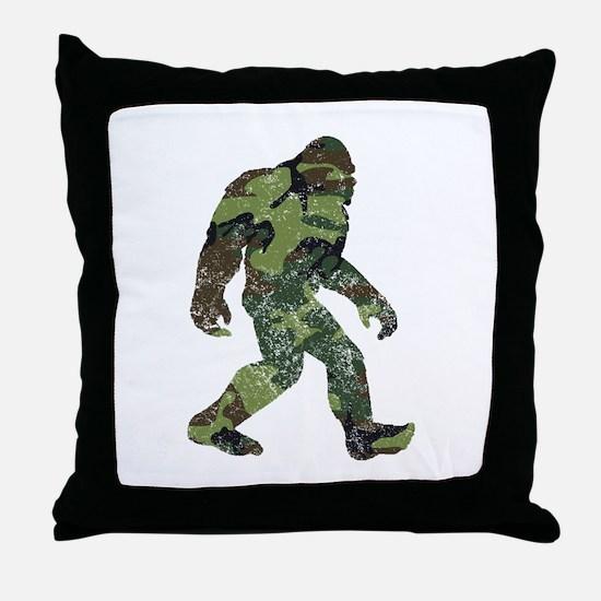 Camo Bigfoot Throw Pillow