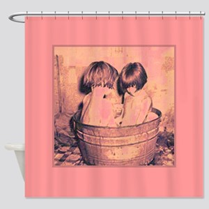 Vintage Little Girls Bath Time Pink Shower Curtain
