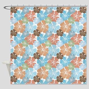 Hawaiian Hibiscus Floral Shower Curtain