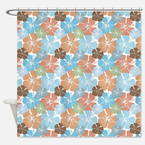 Hawaiian Hibiscus Floral Shower Curtain