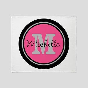 Pink | Black Name Initial Monogram Throw Blanket