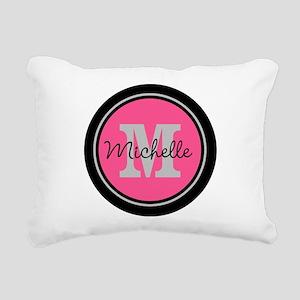 Pink | Black Name Initia Rectangular Canvas Pillow