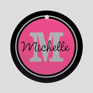 Pink | Black Name Initial Monogra Ornament (Round)