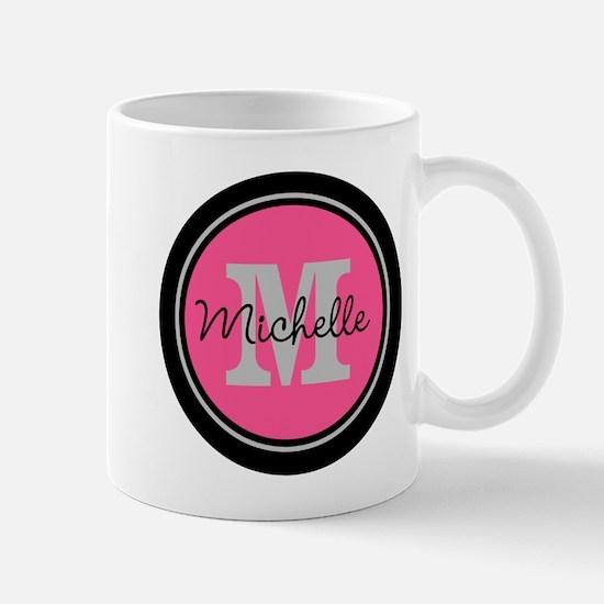 Pink   Black Name Initial Monogram Mug