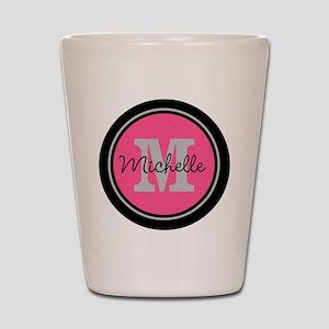 Pink | Black Name Initial Monogram Shot Glass