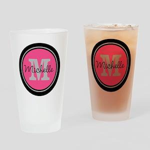 Pink | Black Name Initial Monogram Drinking Glass