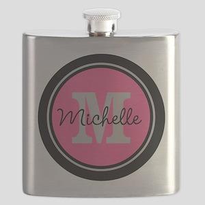 Pink | Black Name Initial Monogram Flask