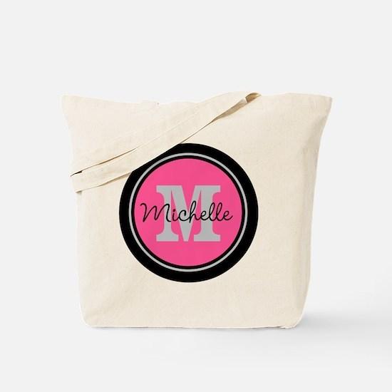 Pink | Black Name Initial Monogram Tote Bag