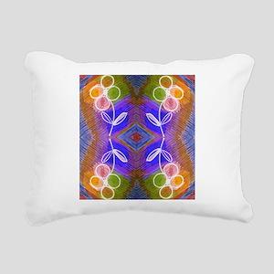 Coloful Flower motif Rectangular Canvas Pillow