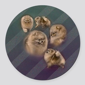 Toy dogs Pomeranian Round Car Magnet