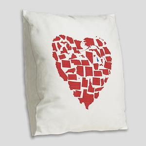 New Hampshire Heart Burlap Throw Pillow