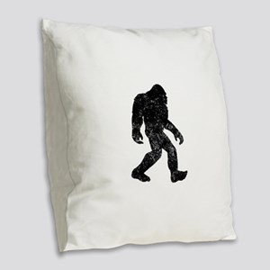 Bigfoot Silhouette Burlap Throw Pillow