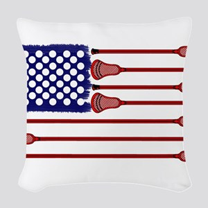 Lacrosse Americas Game Woven Throw Pillow
