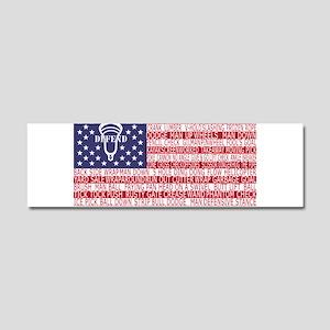 Lacrosse Defense Flag Car Magnet 10 x 3