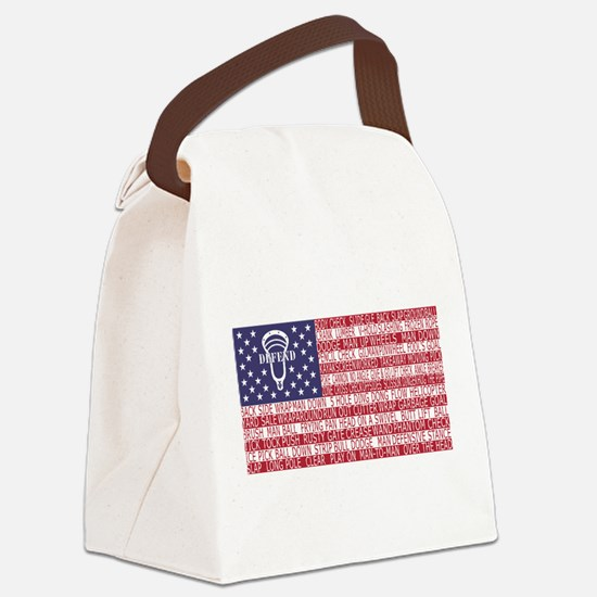 Lacrosse Defense Flag Canvas Lunch Bag