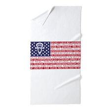 Lacrosse Defense Flag Beach Towel