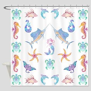 Mermaid Tribal Ocean Fun Shower Curtain