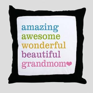 Grandmom - Amazing Awesome Throw Pillow