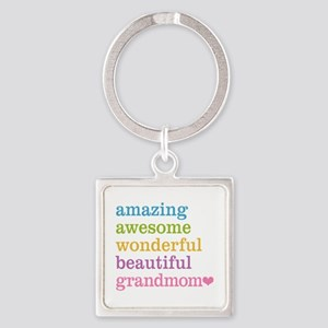 Grandmom - Amazing Awesome Square Keychain
