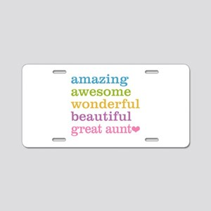 Great Aunt - Amazing Awesom Aluminum License Plate