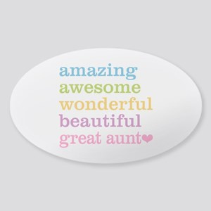Great Aunt - Amazing Awesome Sticker (Oval)