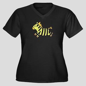 Zebra Child Women's Plus Size V-Neck Dark T-Shirt