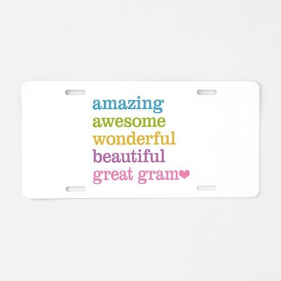 Great Gram - Amazing Awesom Aluminum License Plate