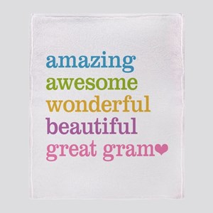 Great Gram - Amazing Awesome Throw Blanket