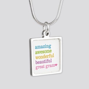 Great Gram - Amazing Aweso Silver Square Necklace