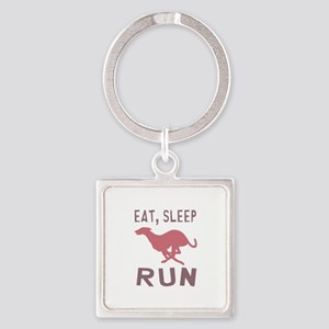 Eat Sleep Run Square Keychain