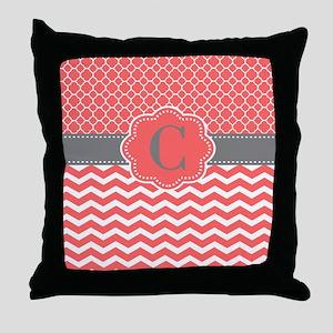 Coral Gray Chevron Quatrefoil Personalized Throw P