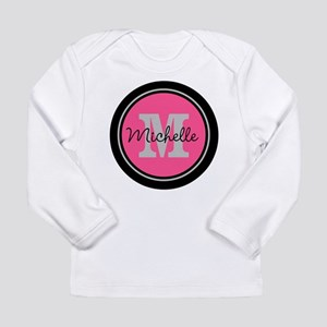 Pink   Black Name Initi Long Sleeve Infant T-Shirt