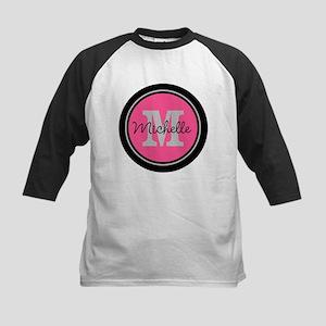 Pink   Black Name Initial Mon Kids Baseball Jersey