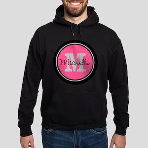 Pink | Black Name Initial Monogram Hoodie (dark)