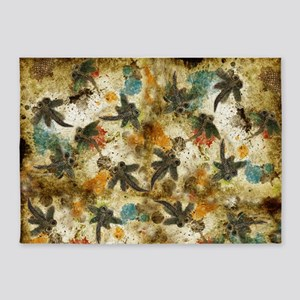 Dragonfly Flit Rustic Splash 5'x7'Area Rug