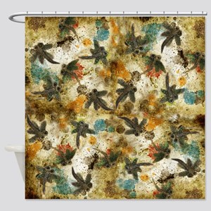 Dragonfly Flit Rustic Splash Shower Curtain