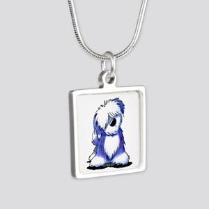 Old English Sheepie Silver Square Necklace