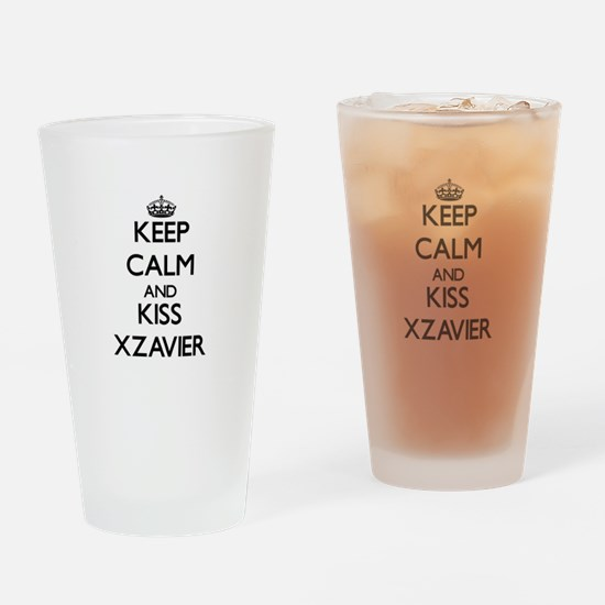 Keep Calm and Kiss Xzavier Drinking Glass