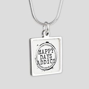 Happy Days Addict Silver Square Necklace