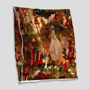 Vintage Holiday Decor Burlap Throw Pillow