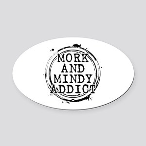 Mork and Mindy Addict Oval Car Magnet