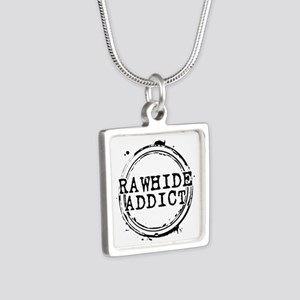 Rawhide Addict Silver Square Necklace