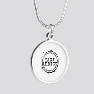 Taxi Addict Silver Round Necklace
