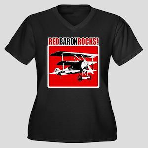 Red Baron Rocks! Women's Plus Size V-Neck Dark T-S
