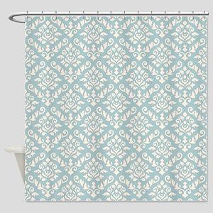 Baroque Damask Ptn Cream On Blue Shower Curtain