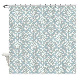 Vintage Blue Damask Shower Curtains