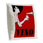 Vino Vintage Lady Burlap Throw Pillow