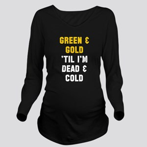 Green Gold Long Sleeve Maternity T-Shirt