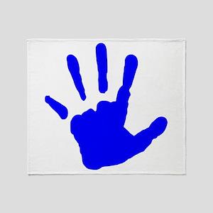 Blue Handprint Throw Blanket