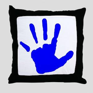 Blue Handprint Throw Pillow